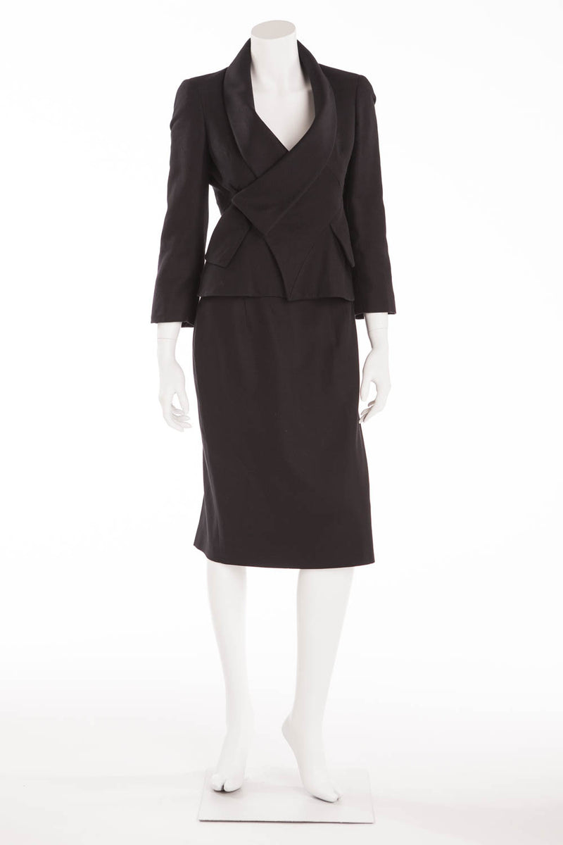 Original Alexander McQueen - 2PC Black Blazer & Skirt Suit - IT 40
