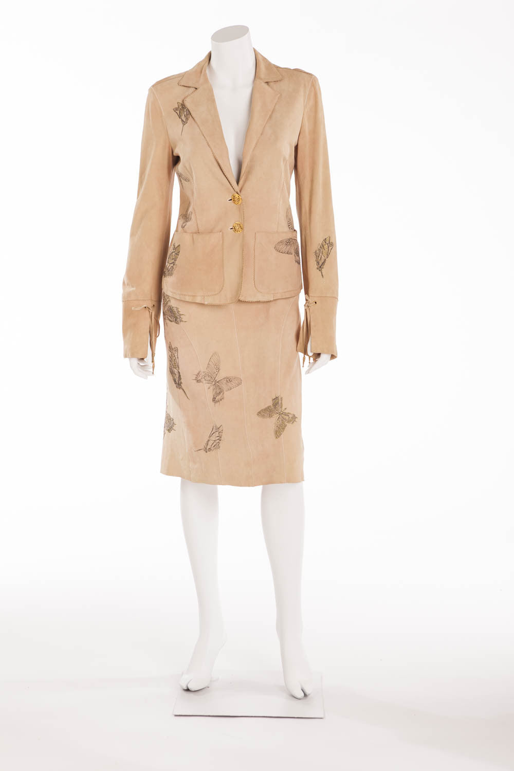 Roberto Cavalli - 2PC Tan Suede Butterfly Skirt and Jacket - S