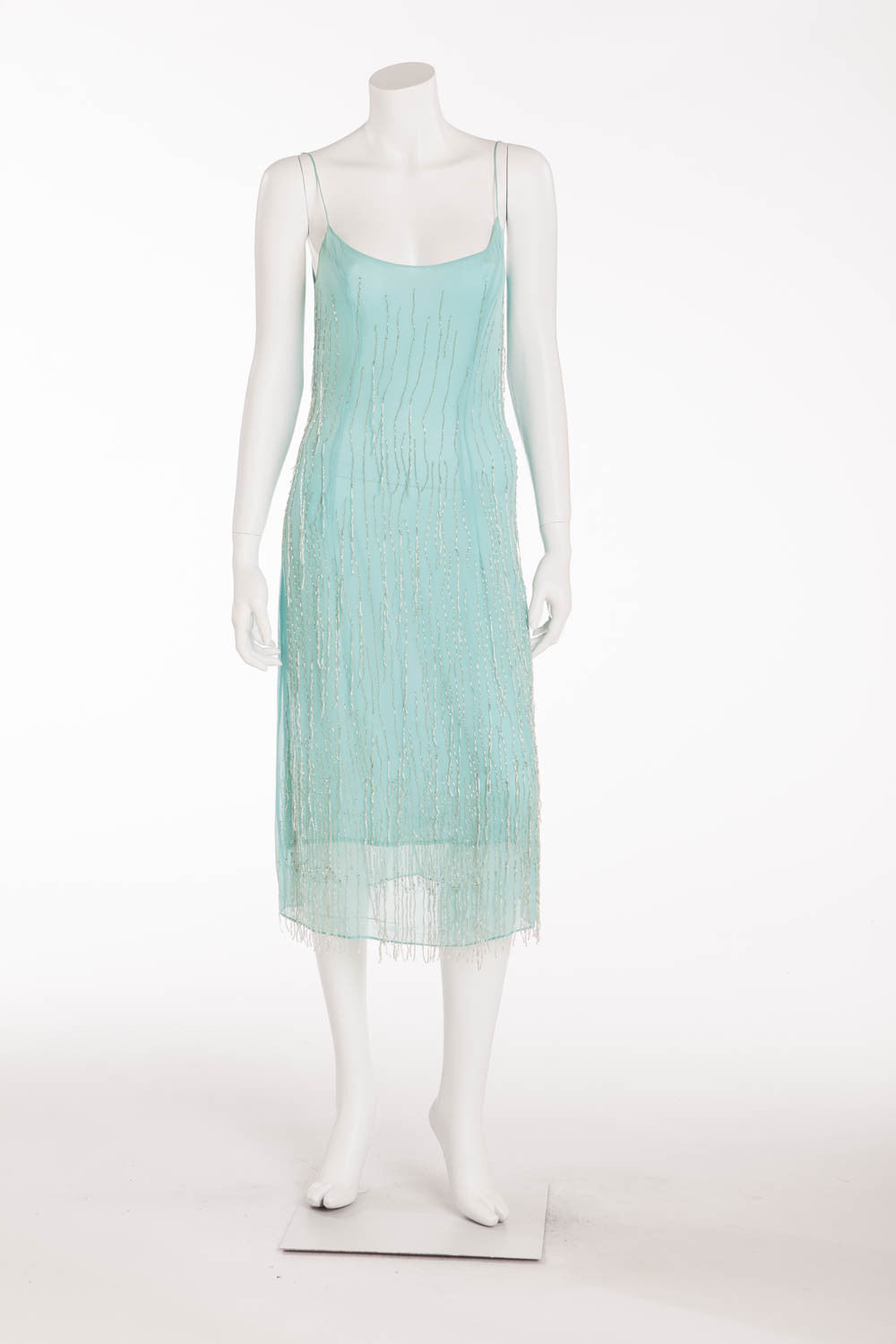 Blumarine - Spaghetti Strap Aqua Beaded Dress - IT 42