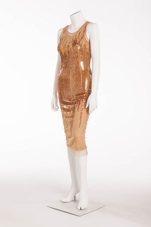 Plein Sud Jean - Nude Sequin Light Brown Long Dress