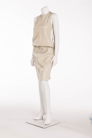Original Alexander McQueen - Shredded Back Cat Woman Face Gray Beige Leather Dress - IT 42