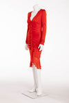 Ungaro - Red Long Sleeve Dress with Ruching