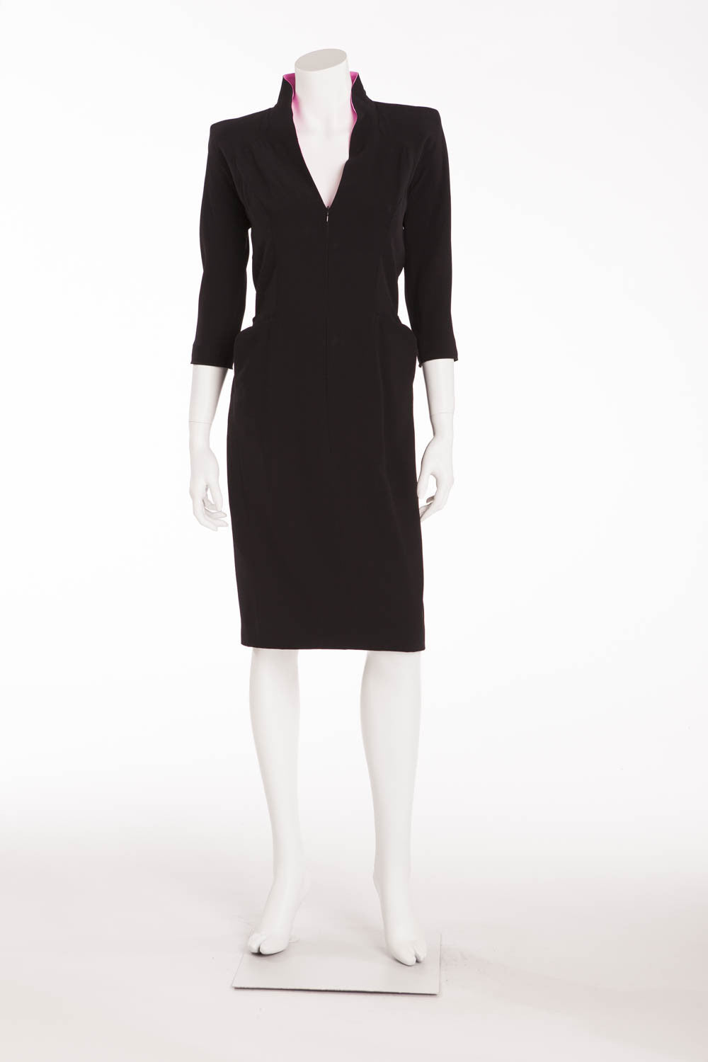 Original Alexander McQueen - Black 3/4 Sleeve V Neck Dress with Pink Trim - IT 40