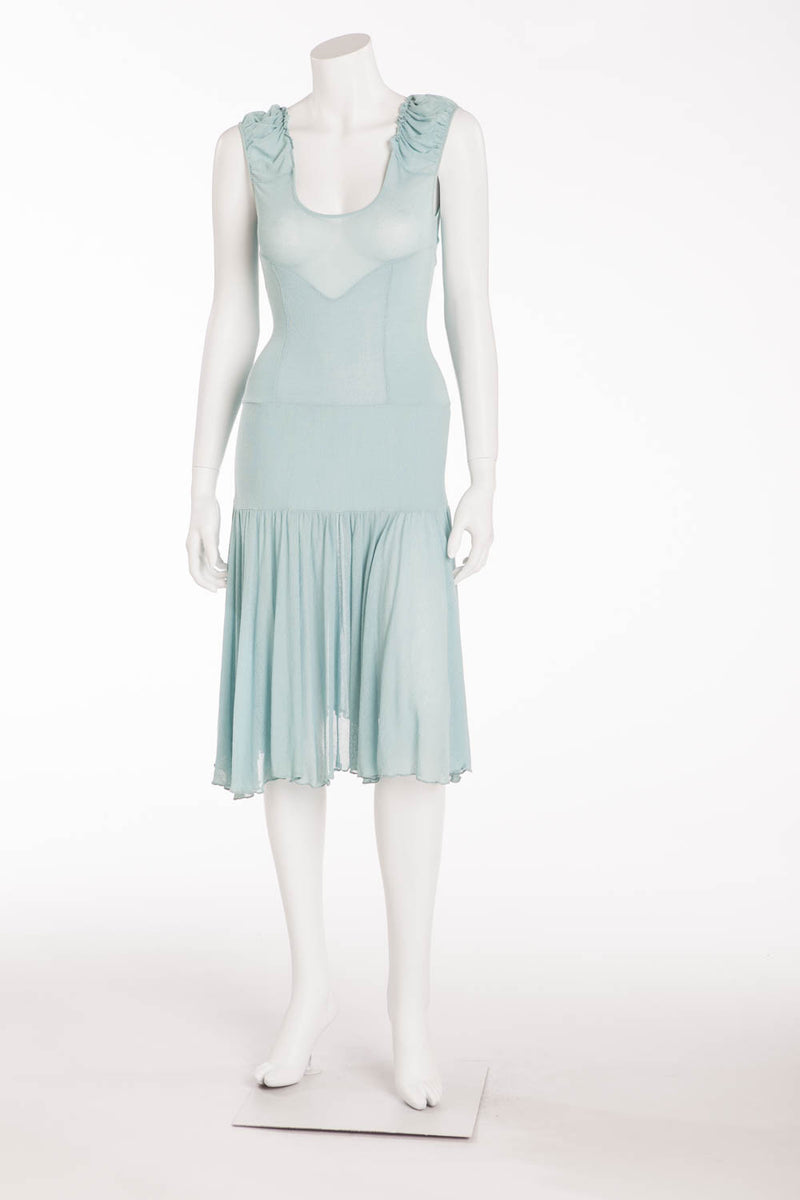 Blumarine - Aqua Sleeveless Knit Dress
