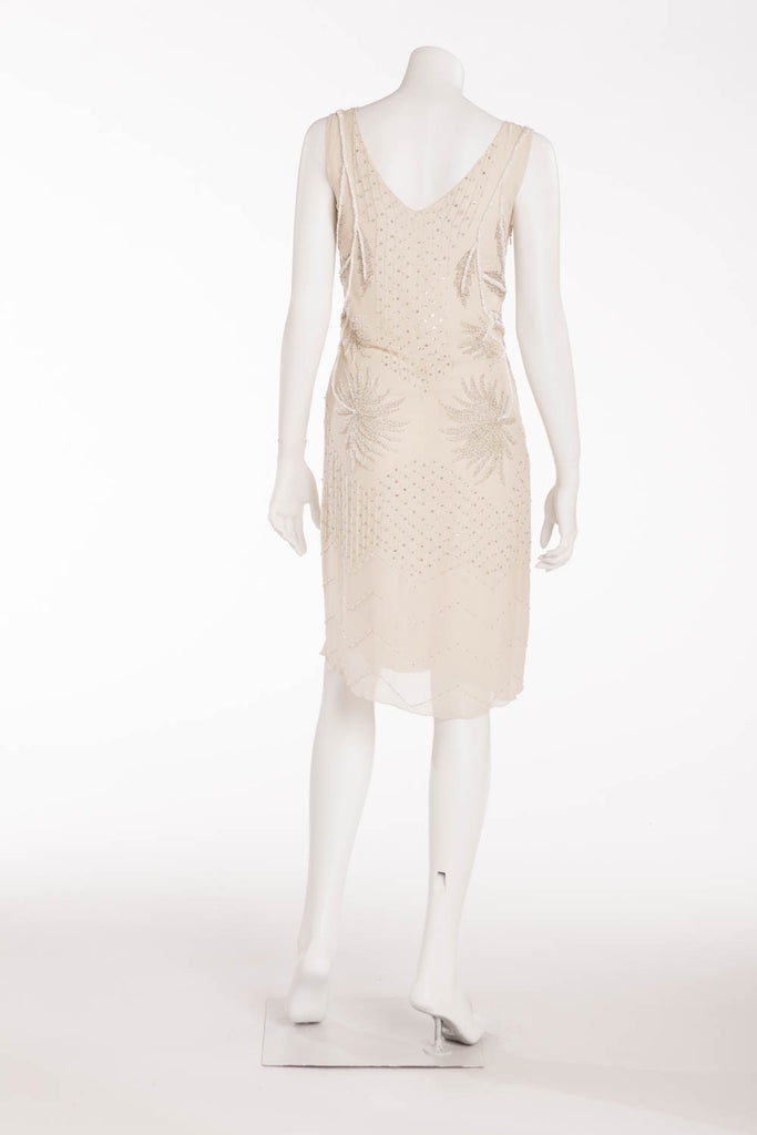 Alberta Ferretti - Ivory Silk Chiffon Beaded Dress - IT 40