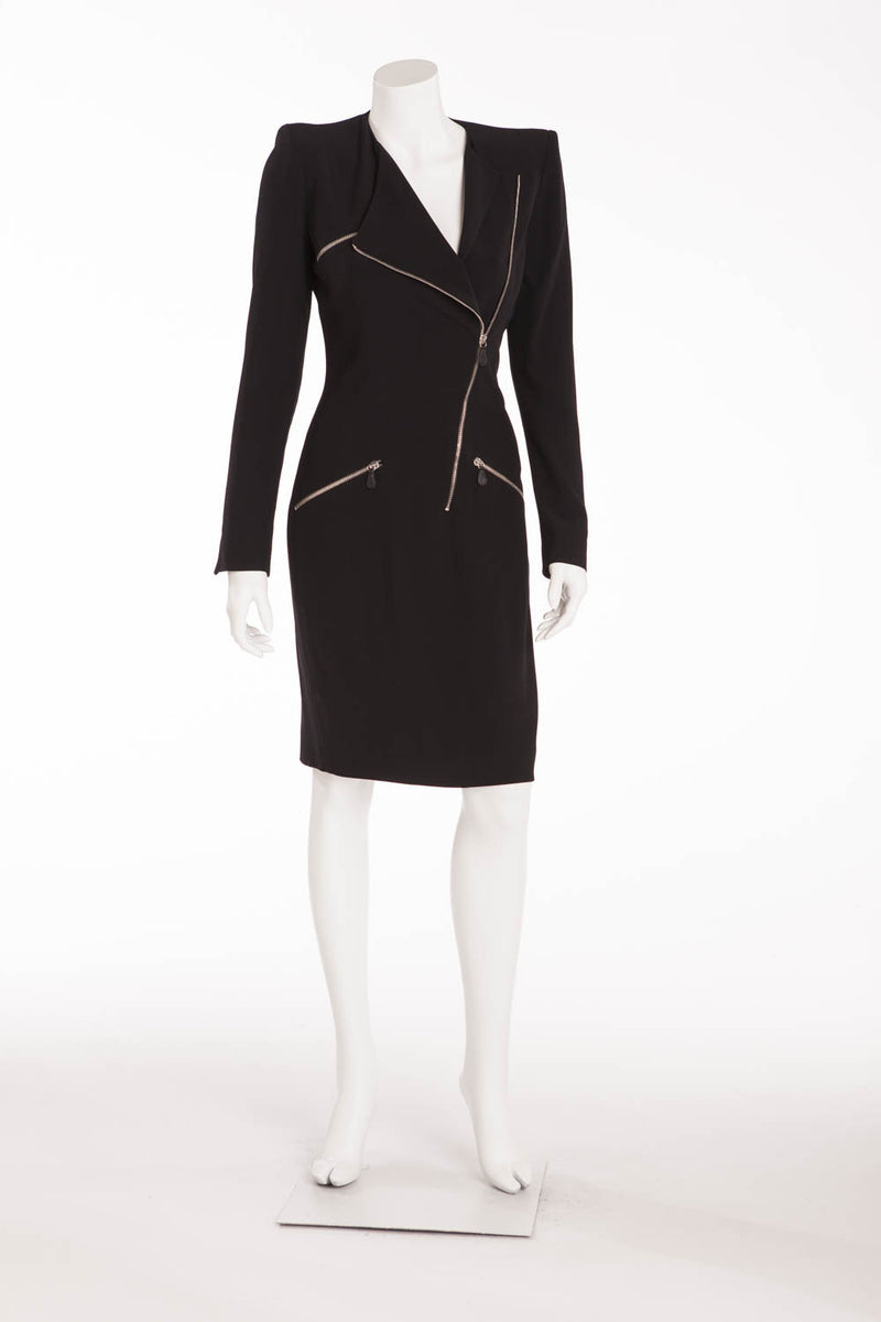 Original Alexander McQueen - Black Long Sleeved Zipper Dress - IT 40