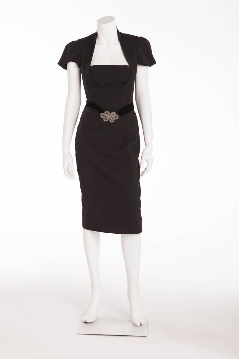 Roberto Cavalli - Black Dress Velvet Belt with Buckles - IT 40