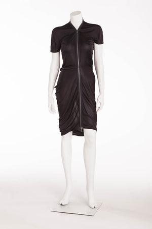 Alexander Mcqueen - Black Jersey Dress Front Zipper - IT 42