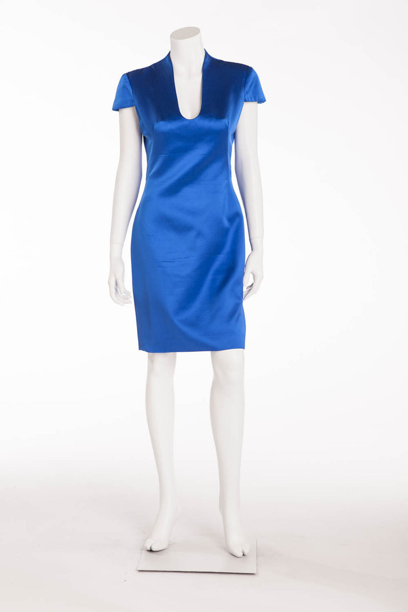 Original Alexander McQueen - Short Sleeve Silk Electric Blue Dress - IT 42
