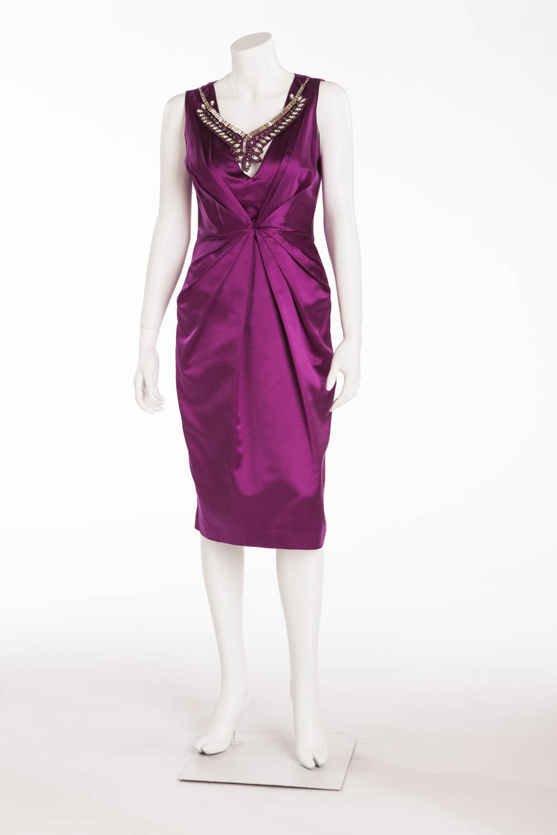Blumarine - Purple Silk Dress With Necklace - IT 42