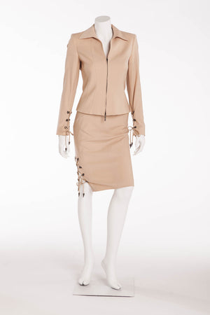 Versace - 2PC Tan Blazer with Pencil Skirt Suit - IT 38