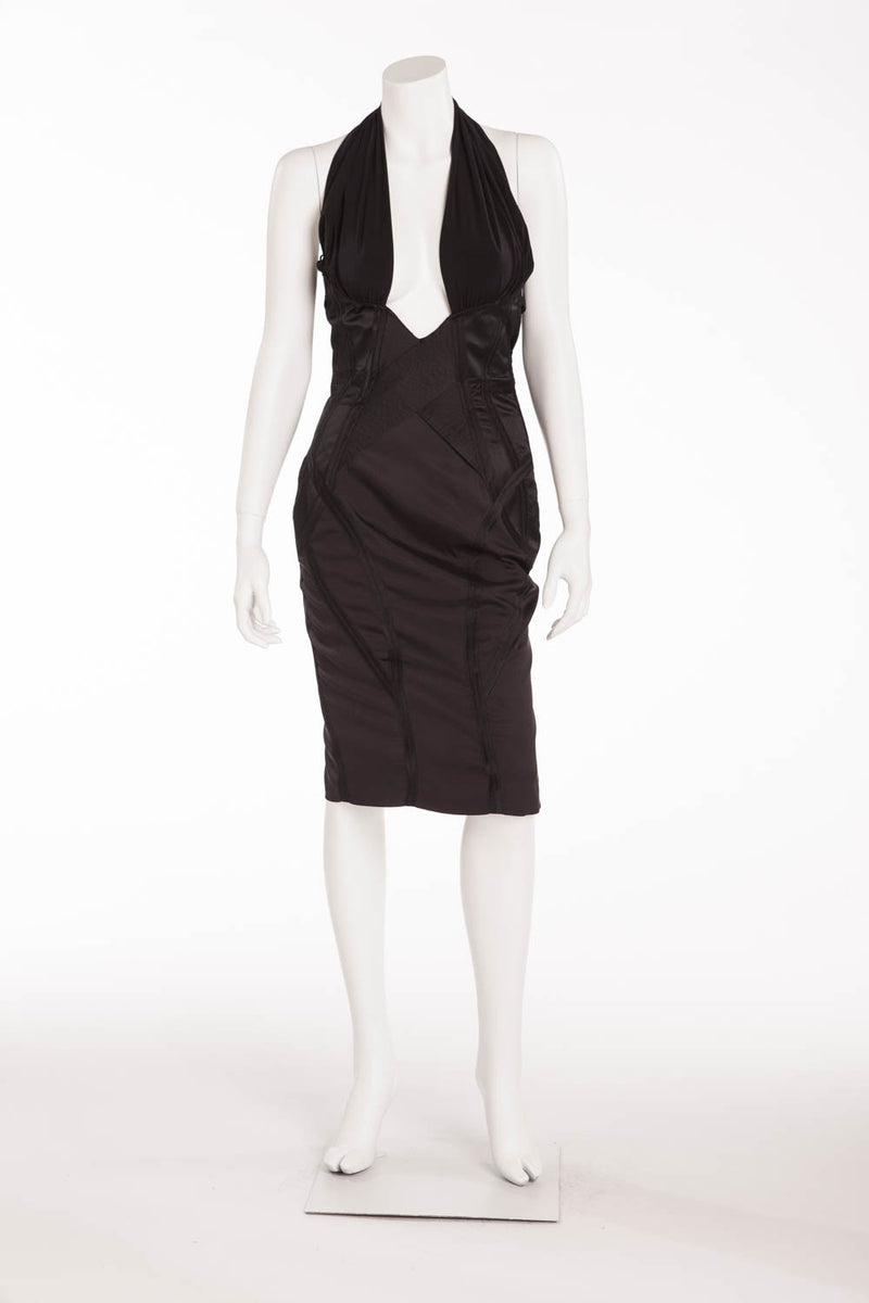 b5050e3a69c Iconic Tom Ford for Gucci - Black Corset Halter Dress with Cross Over V  Neck -