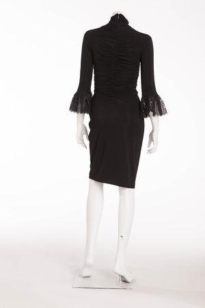 Roberto Cavalli - Black Ruched Dress with Lace Trim Sleeves