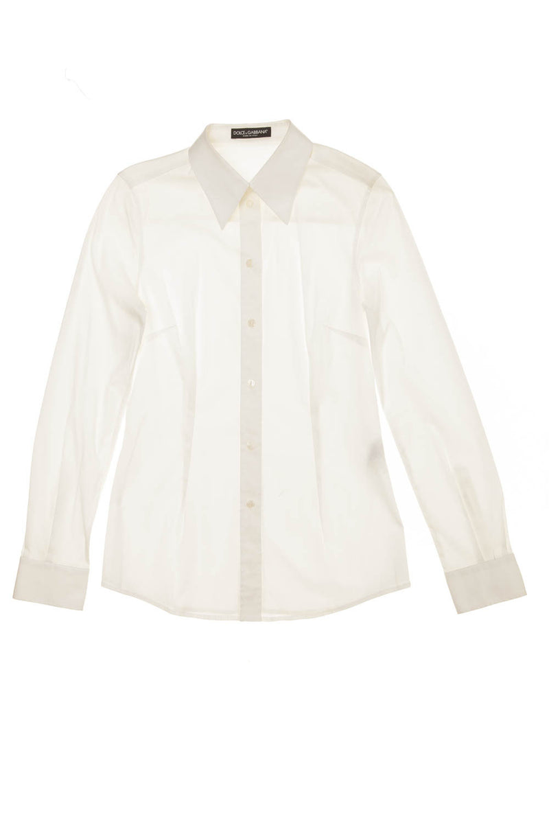 Dolce & Gabbana  - White Long Sleeve Button Up Blouse - IT 42 -
