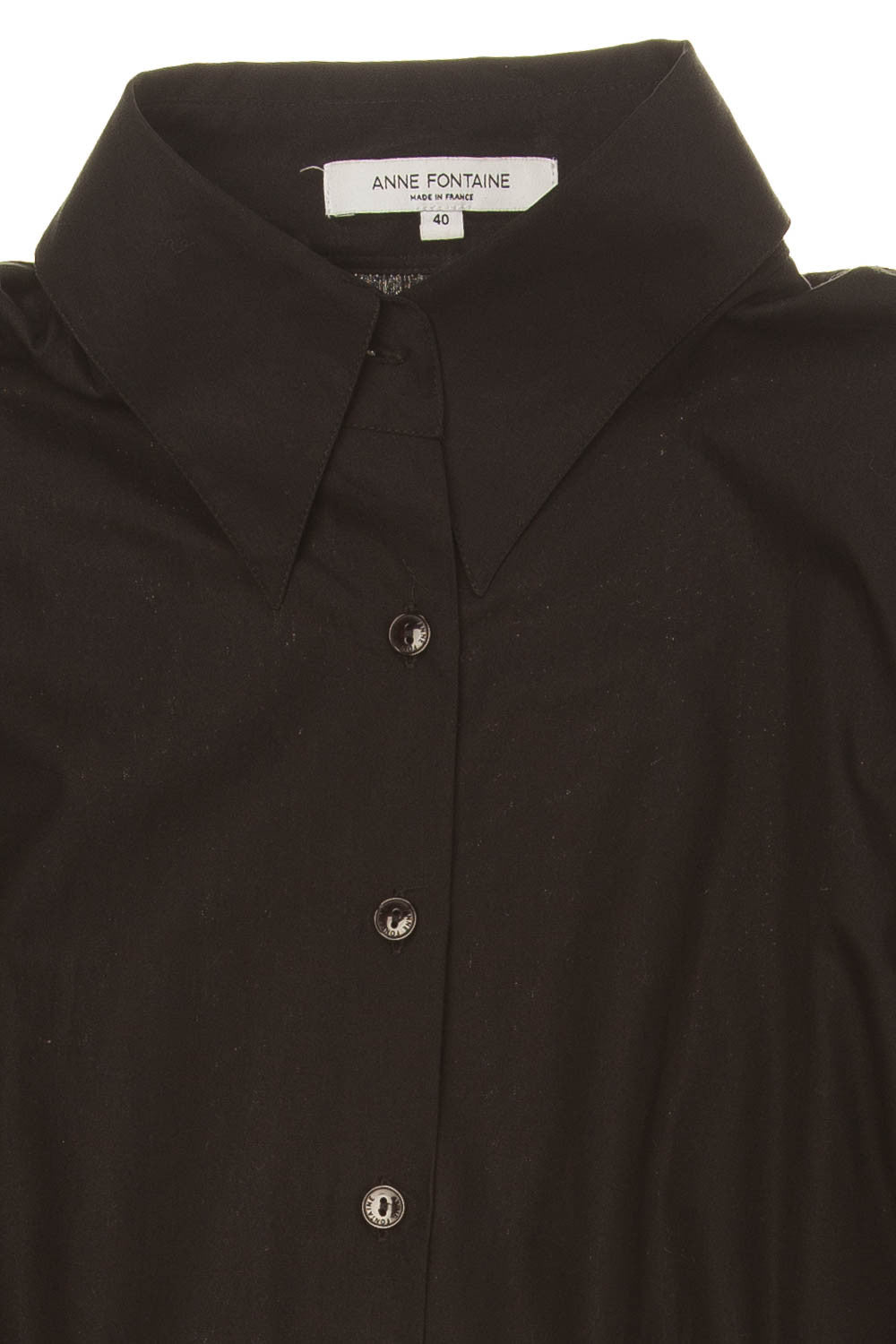 5ab4466e61b1be Anne Fontaine - Black Button Down Blouse - FR 40 – LUXHAVE