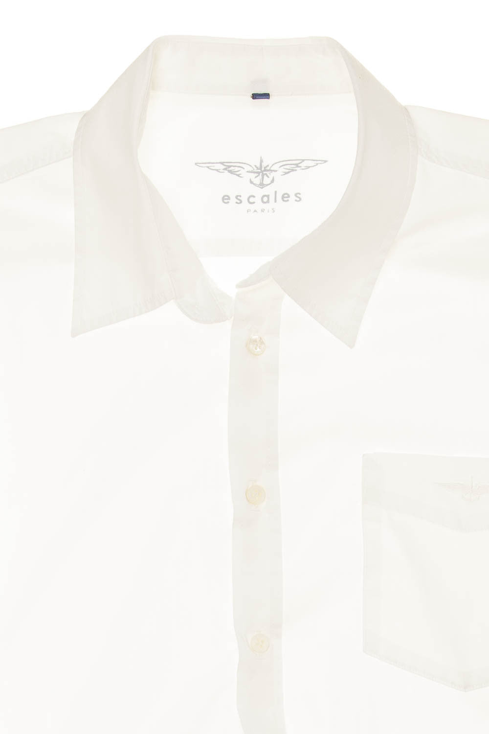 aa5bad136e4ebc Escales - White Long Sleeve Button Up Blouse - L – LUXHAVE
