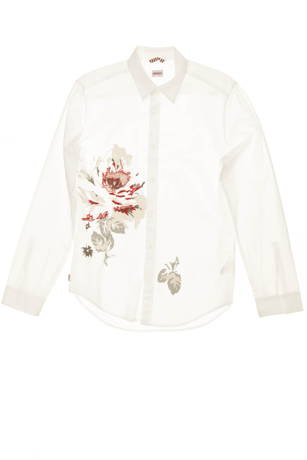 Kenzo - White Button Up Blouse with Red Flowers - M