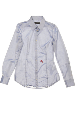 Dsquared2 - As Seen on the 2012 Fall Runway Collection, Look 8 - Sky Blue Long Sleeve Button Up Blouse - IT 44