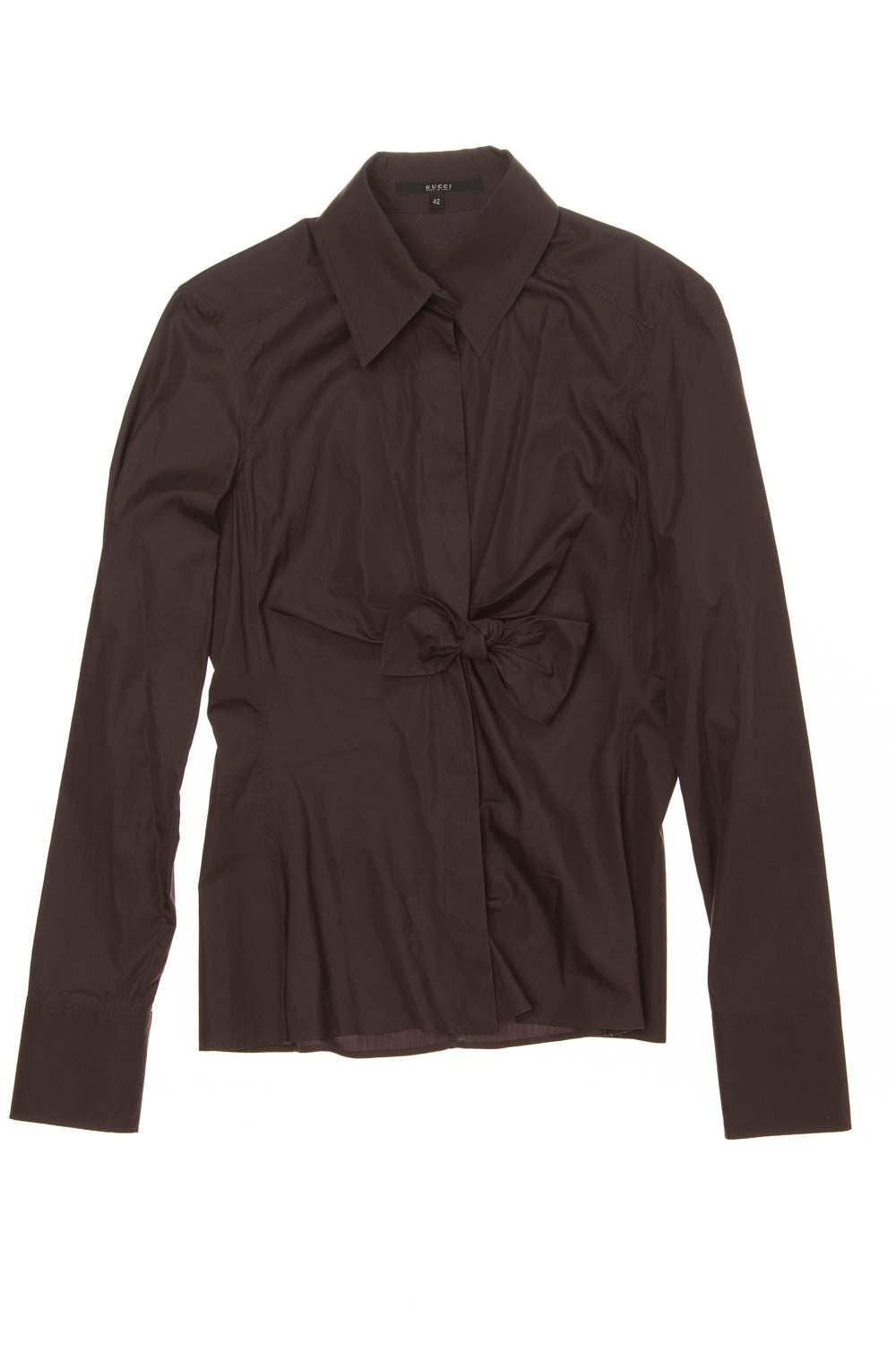 Iconic Tom Ford for Gucci - Eggplant Long Sleeve Button Up Blouse with Bow - IT 42
