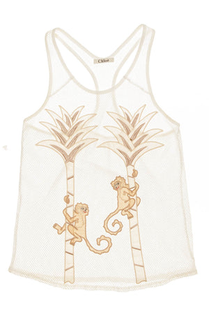 Chloe - White Fish Net Tank with Monkeys and Palm Trees - FR 38
