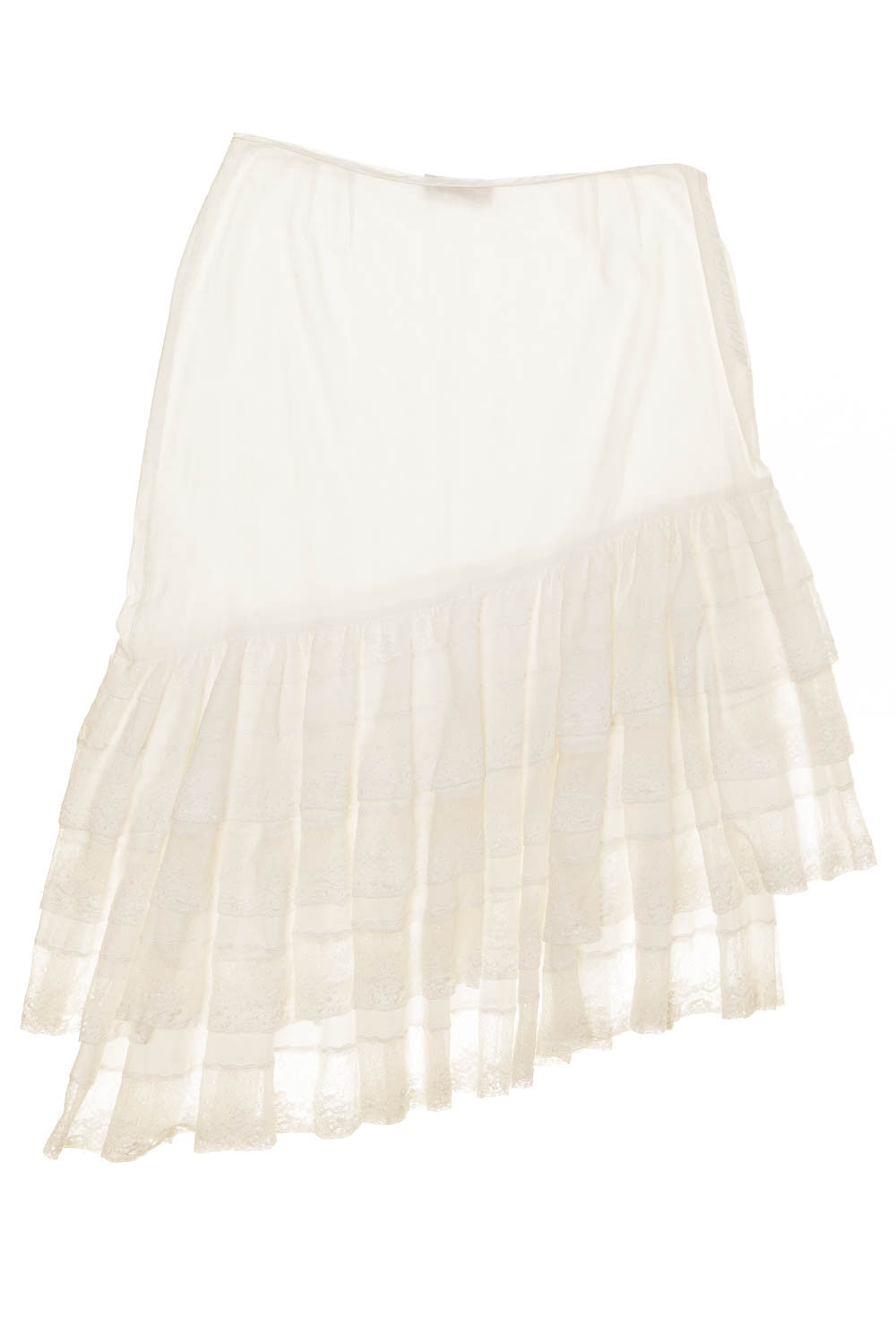 Blumarine - White Cotton Lace Asymmetrical Ruffle Skirt - IT 40