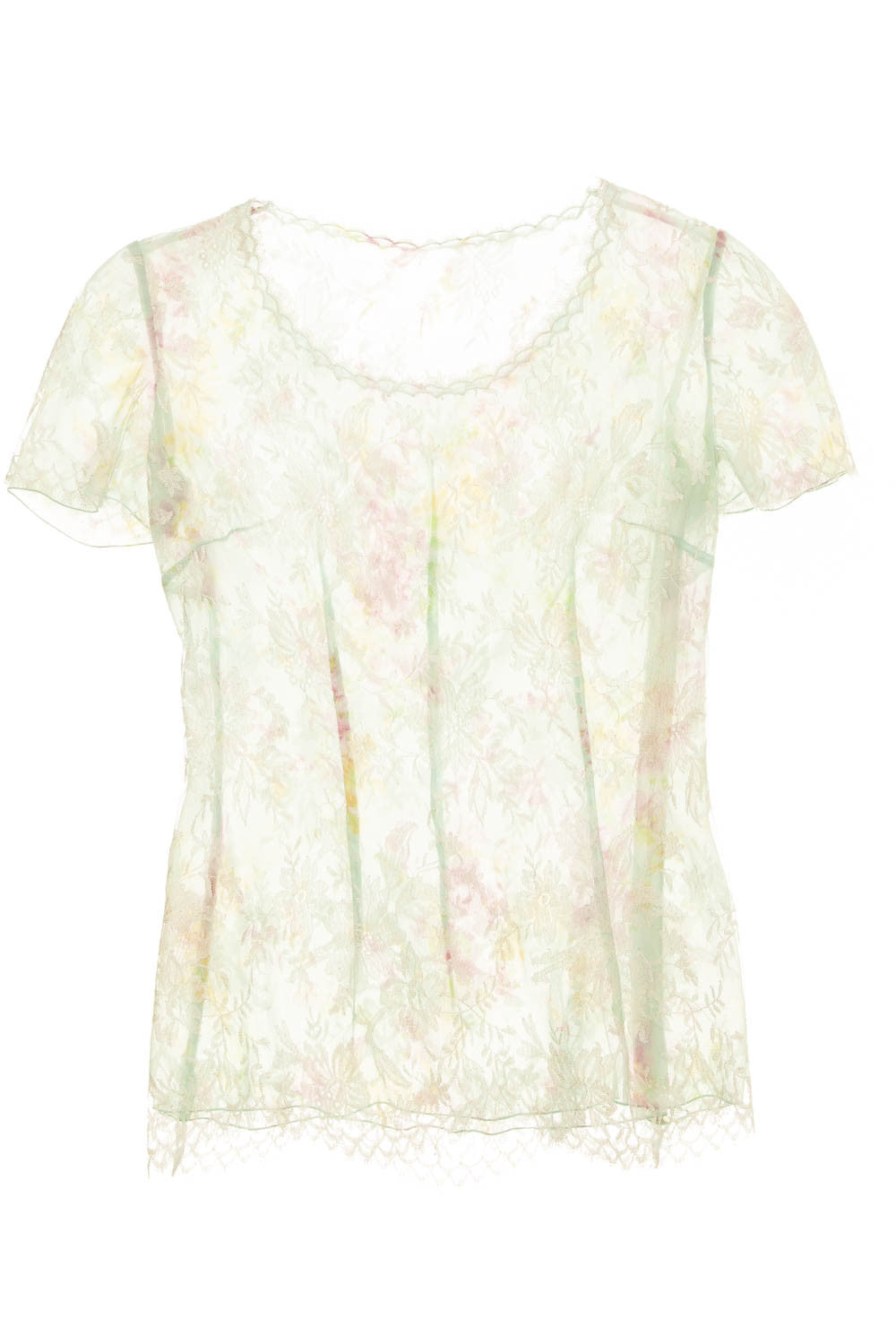 Ungaro - Mint Green Tailored Floral Sheer Lace Top - FR 38