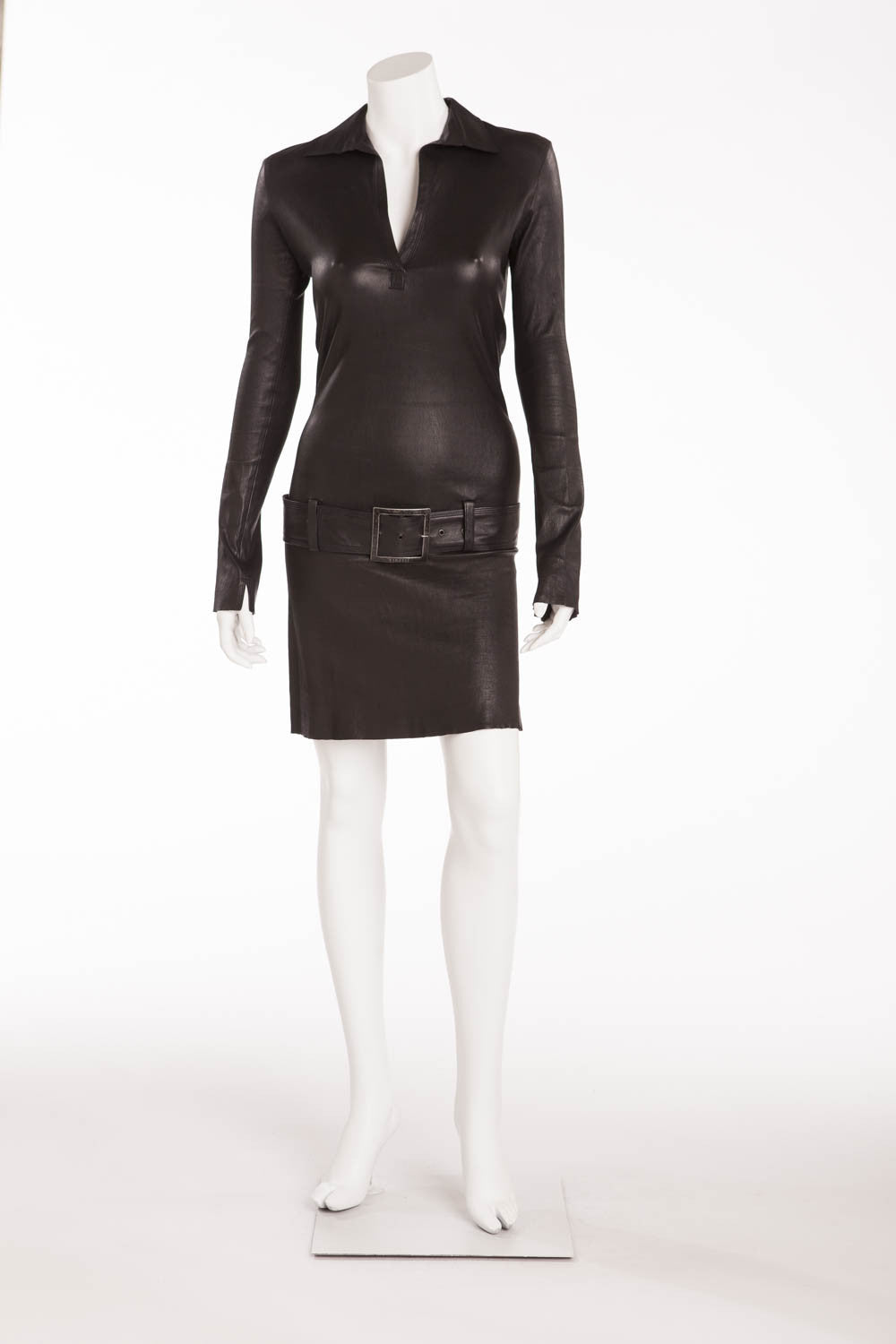 "Jitrois - Black Leather ""Polo Dress"" with belt - FR 38"