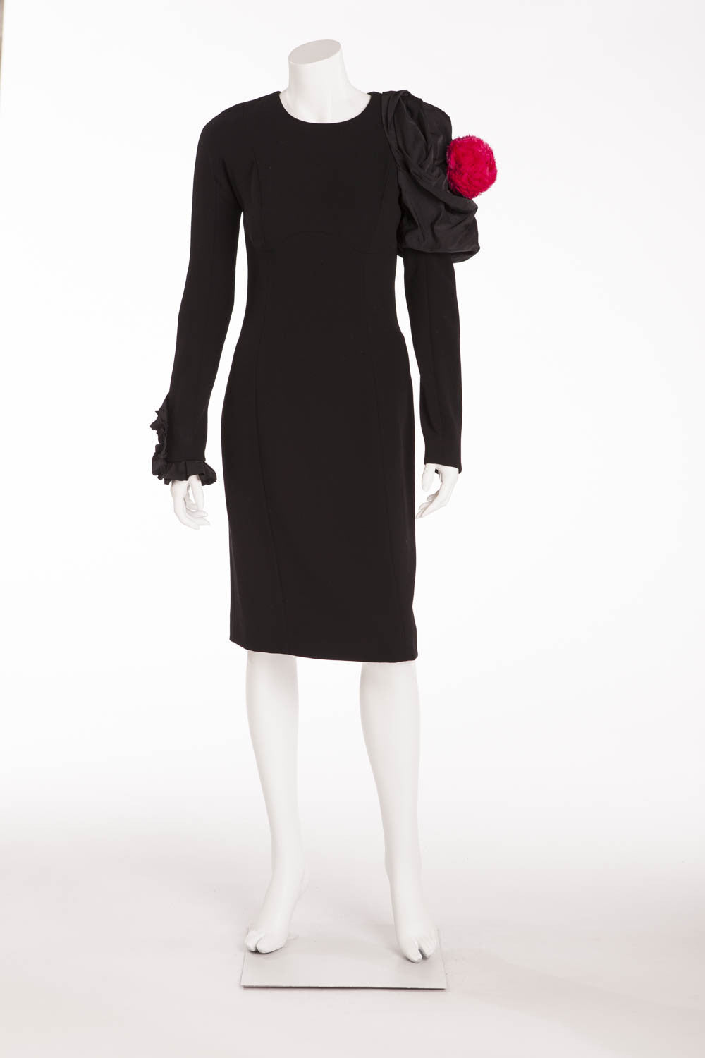 Louis Vuitton - Featured on the 2009 Runway Collection -  New Black Dress with Pink Flower on Shoulder - FR 38