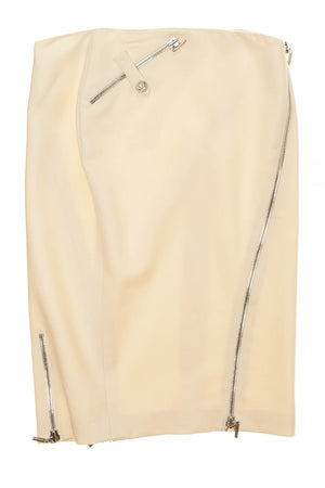 Versace - Cream Pencil skirt with zippers - IT 40