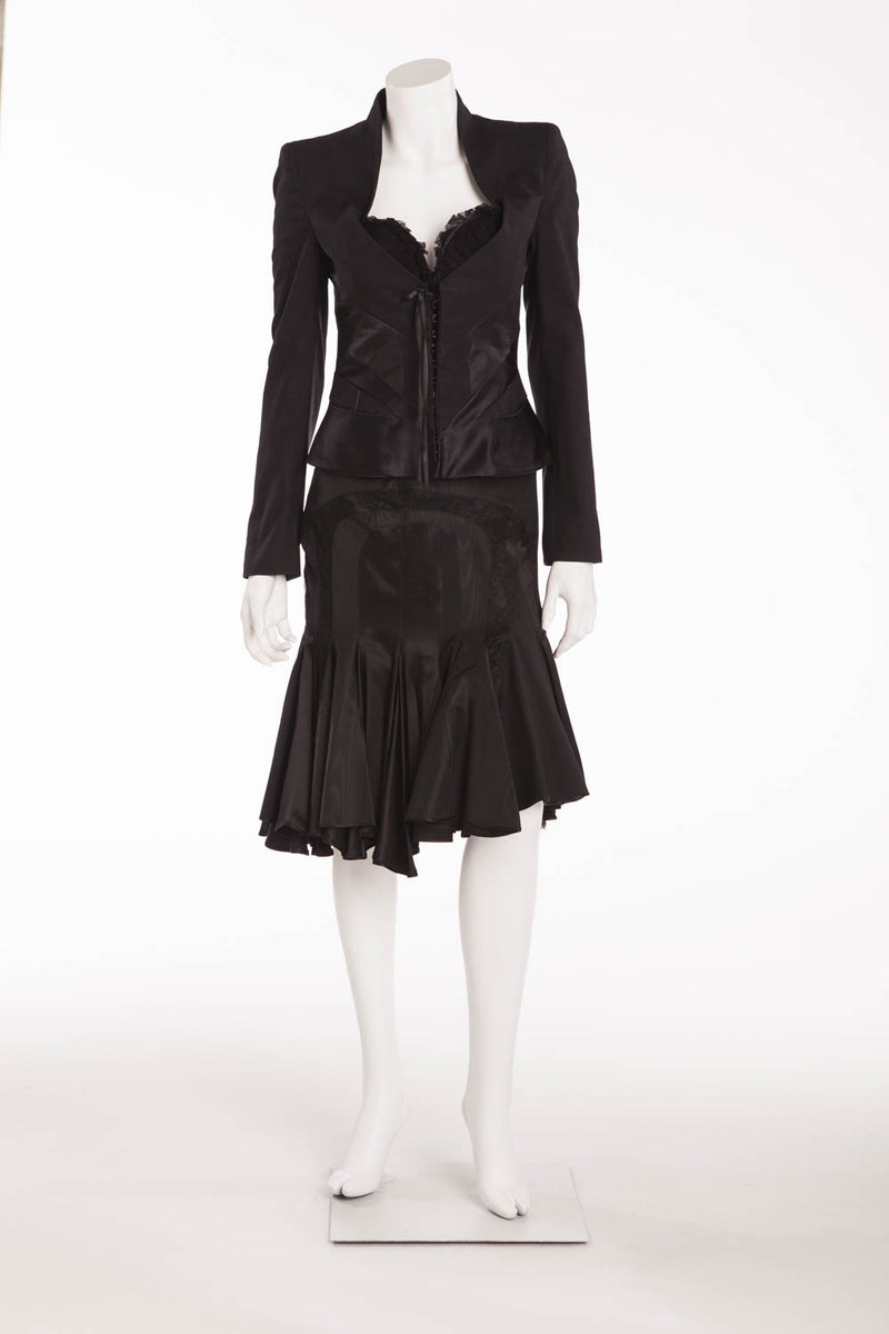 Original Alexander McQueen - 3PC Black Blazer, Black Asymmetrical Skirt, Black Pencil Skirt - IT 40/42
