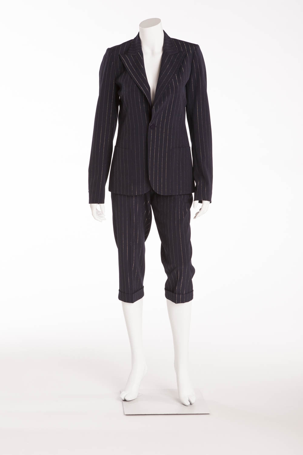Jean Paul Gaultier - 2PC Dark Blue Pin with Gold Stripe Blazer and Capri - IT 40