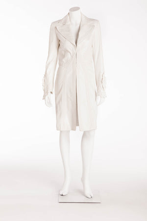 Versace - White Intricate Leather Design Long Sleeve jacket - IT 40