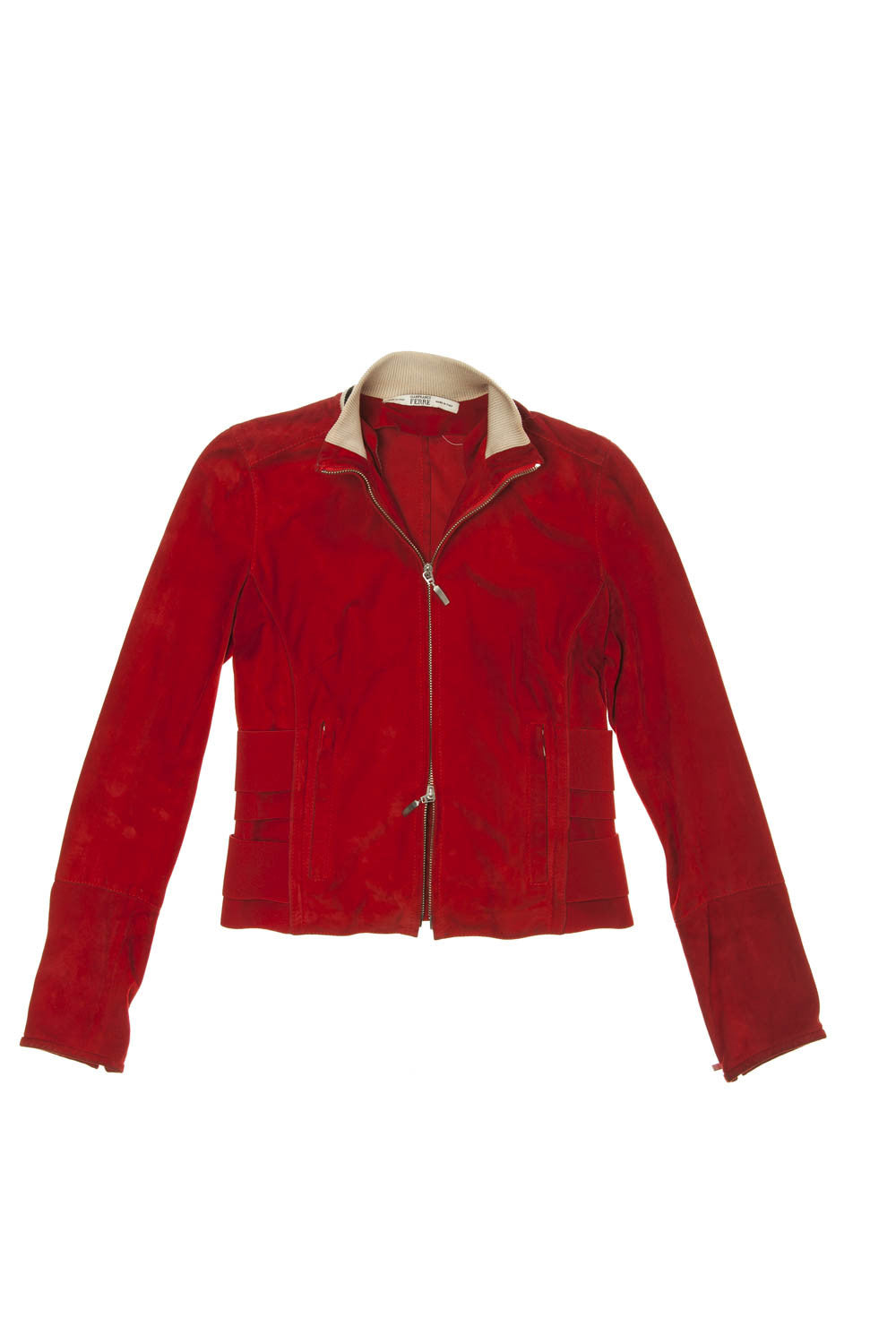 Gianfranco Ferre - Red Suede Zip Up Jacket - IT 42