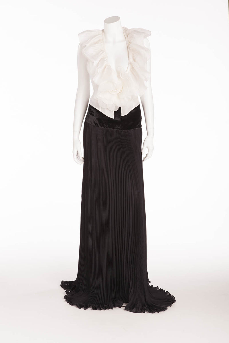 Roberto Cavalli - Long Black Pleated Skirt with White Ruffle Top