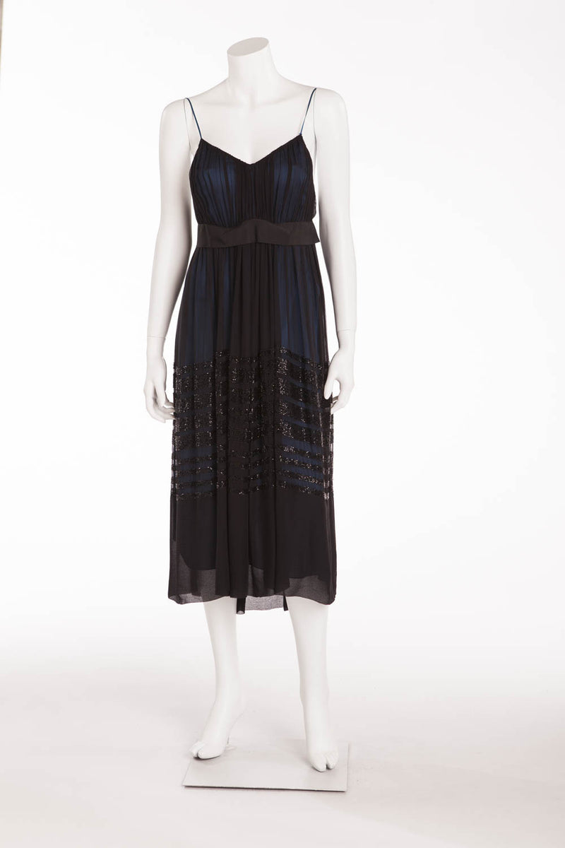 Chloe - Black Chiffon Spaghetti Dress Navy Blue Lining with Bead Trim - FR 38