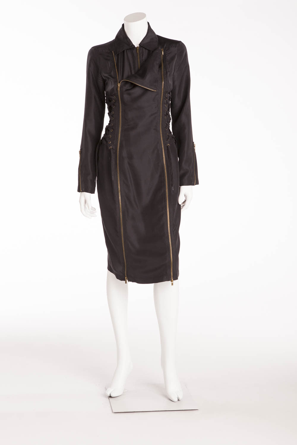 Chloe - Black Long Sleeve Dress with Gold Zippers - IT 42