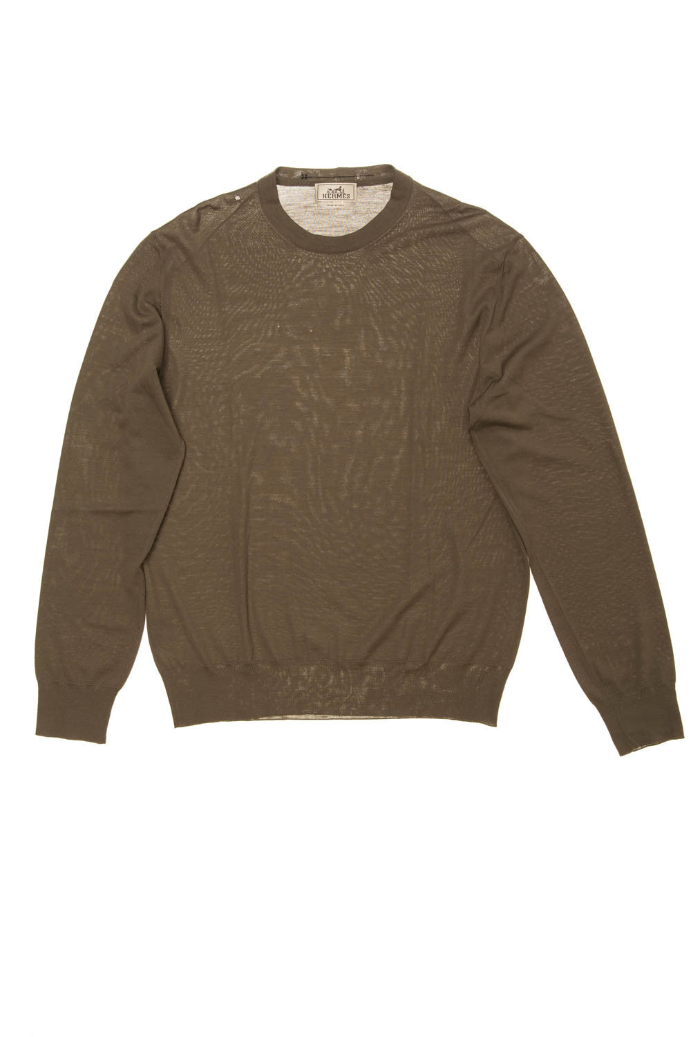 Hermes - Dark Olive Green Long Sleeve Tee As Is (Moth Eaten) - XL