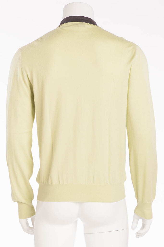 Authentic Hermes - Long Sleeve Zip Neck Cashmere Sweater Green - XL