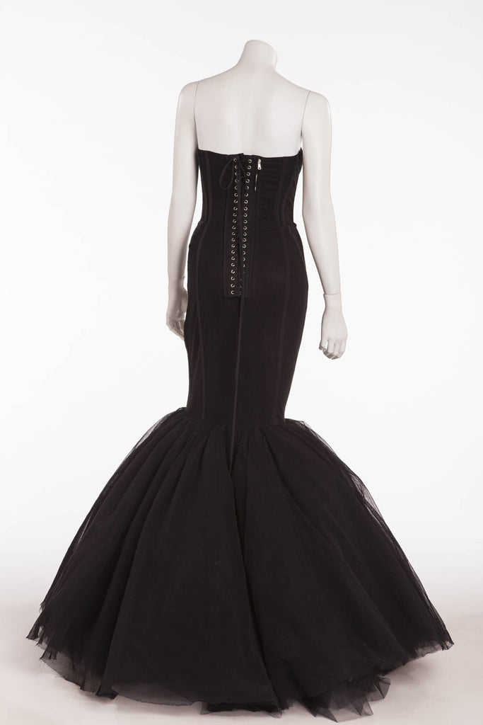 Dolce & Gabbana - Brand New Black Corset Lace Up Fishtail Gown - IT ...