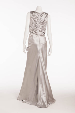 Christian Dior - Elegant Silver Satin Gown with Embellishments and Ruching  - FR 40