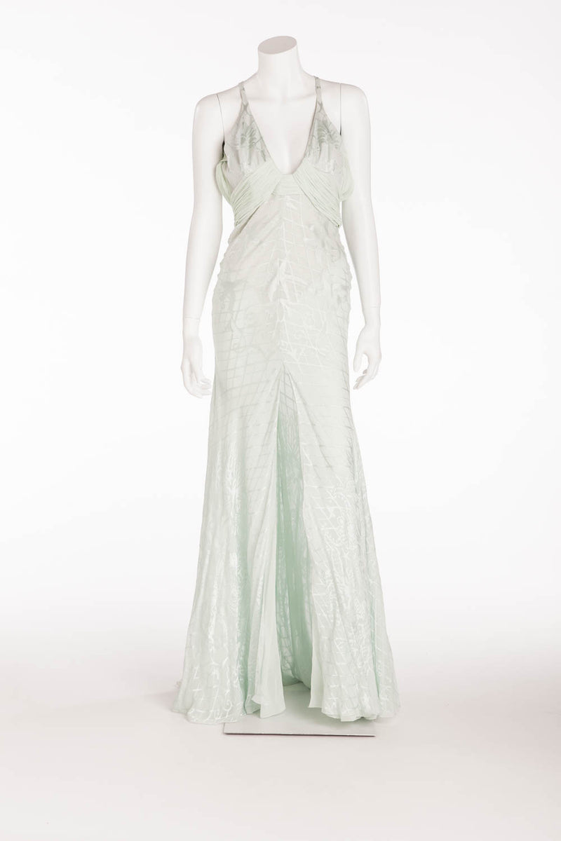 Versace - Mint Color Dress with Gold Embellishments - IT 40