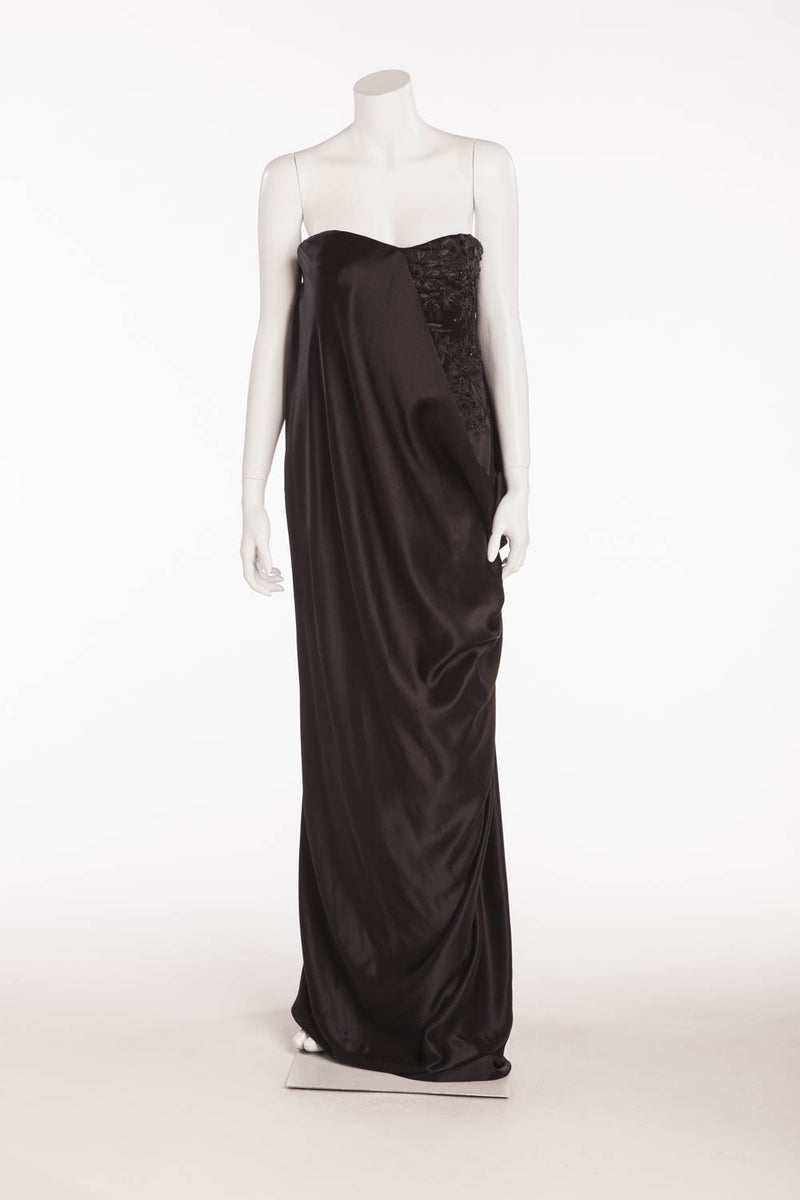 Original Alexander McQueen - NWT  Black Strapless Beaded Gown - IT 42