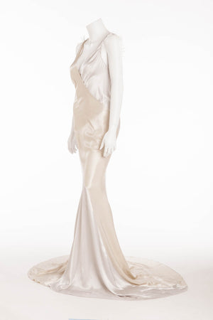 Nina Ricci - Silver and Beige Long Gown with Feathers - FR 38