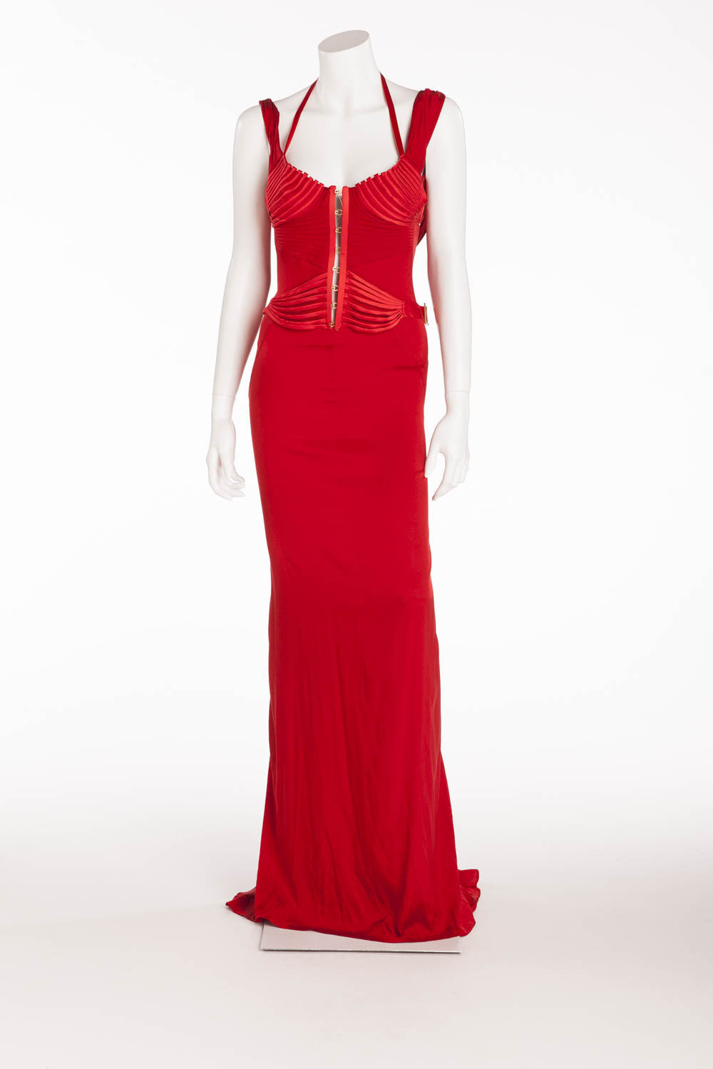 Iconic Tom Ford For Gucci - Editorial Red Corset Long Silk Gown - IT 40