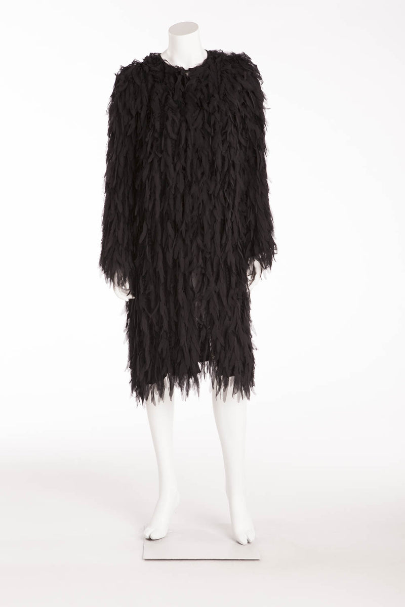 Dolce & Gabbana - Black Silk Feather Design Coat -