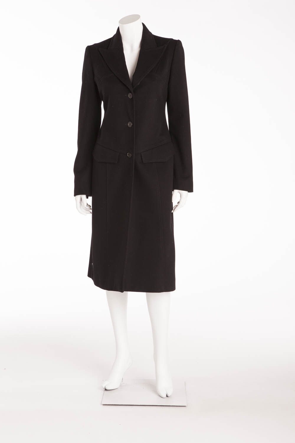 Gucci - Black Long Sleeve Button Up Coat  - IT 38