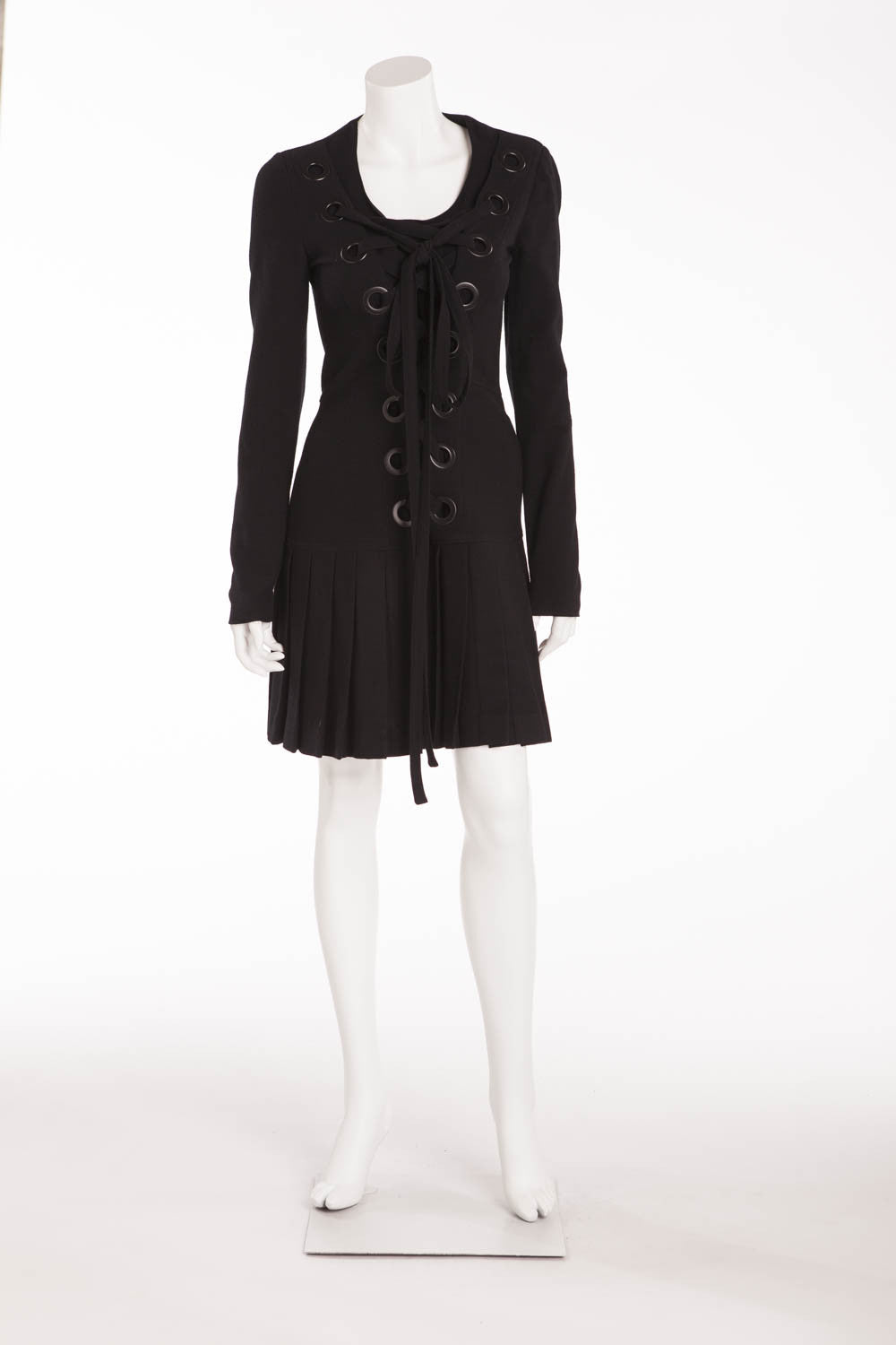 Givenchy - Black Wool Lace Up Dress - FR 40