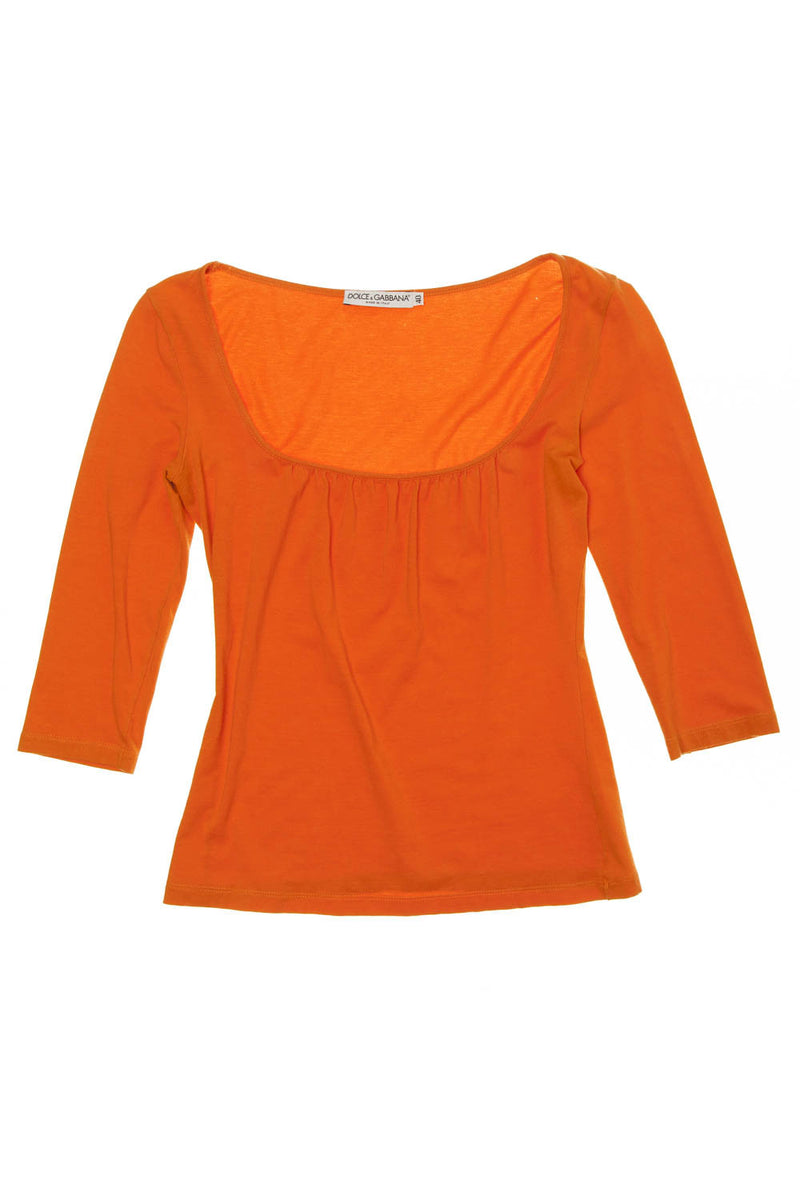 Dolce & Gabbana - Orange 3/4 Sleeve Top - IT 40