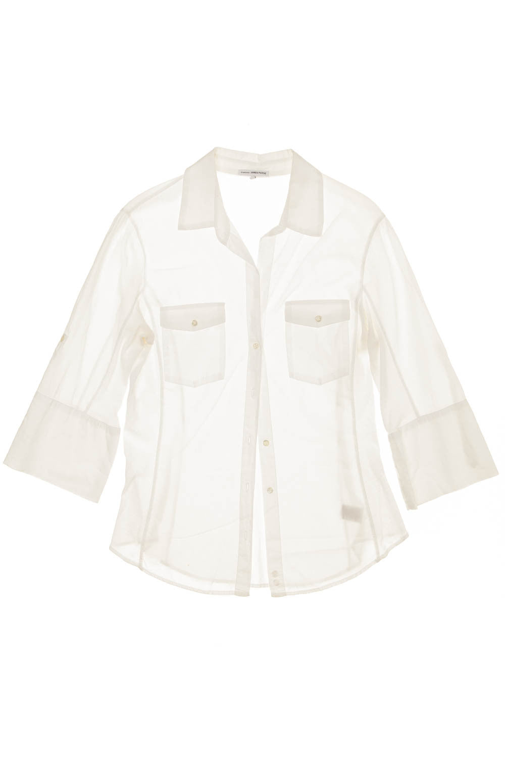 James Perse - White 3/4 Sleeve Button Up Shirt - US 4