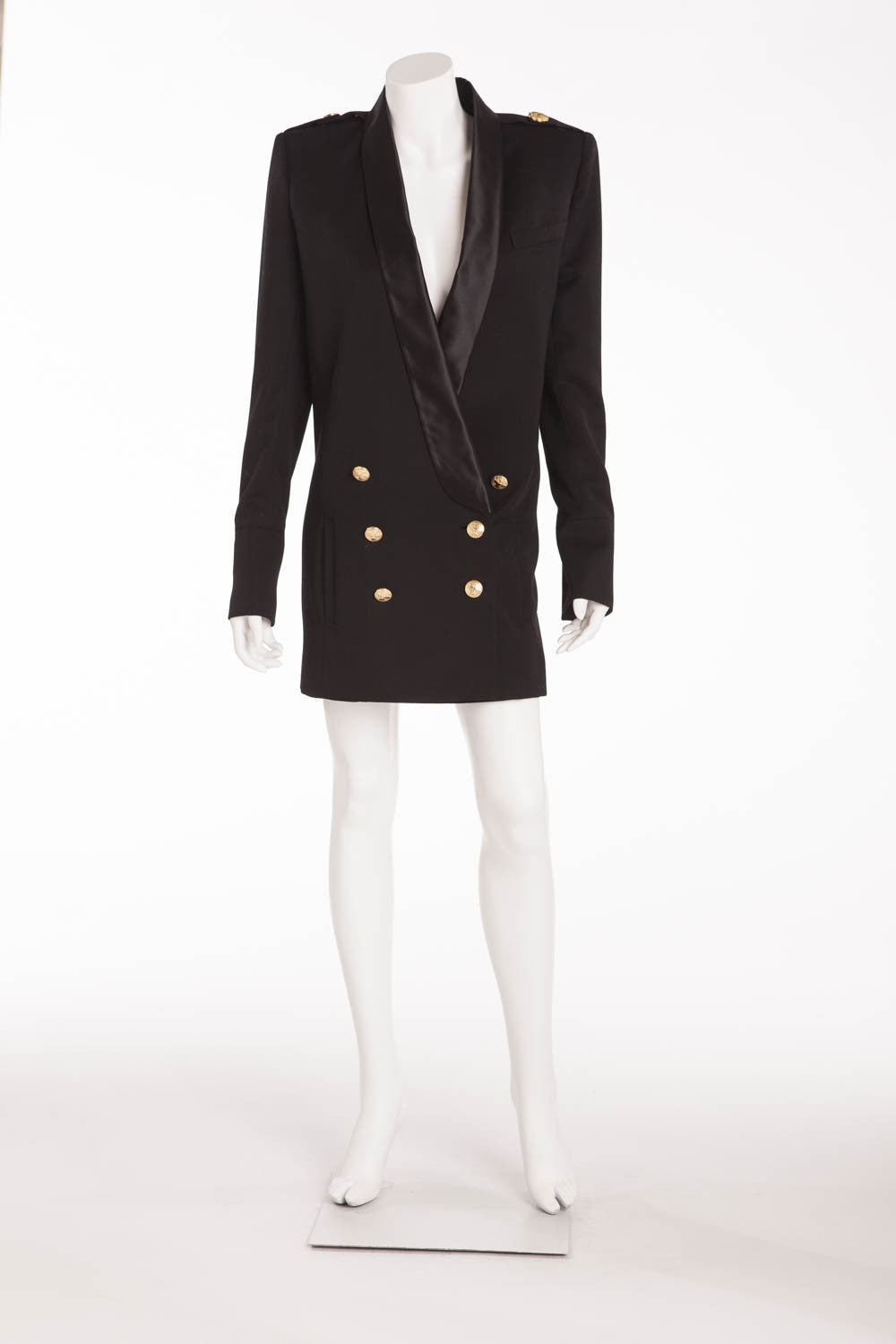 Balmain - As Seen on Kim Kardashian - Black Blazer Dress with Silk Trim and Gold Buttons - FR 38